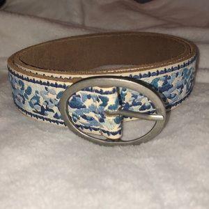 Blue Embroidered Flower Leather Belt